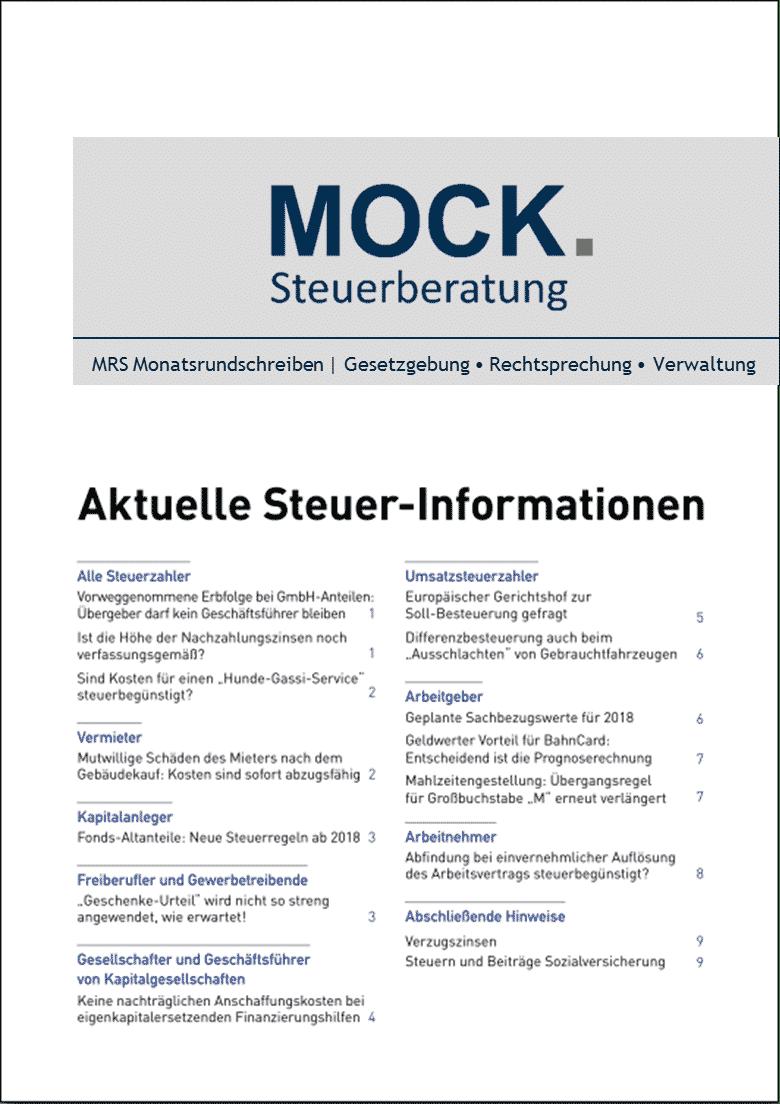 Newsletter der Steuerberatung Mock aus Hamburg
